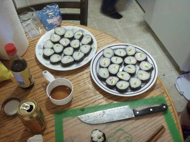 Sushi made by my roommate Spring 2015. Taken on my Kodak digital camera.